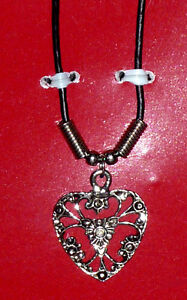 Victorian Silver Filigree Heart Necklace on Leather Chain