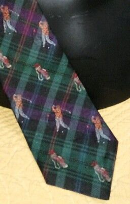 Austin Reed Golfer In the swing Tartan base Silk Tie Made in England