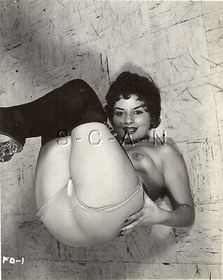 Org Vintage 1940s-60s Nude RP- Black Stockings- Sheer Panties- Garter- Butt- #3