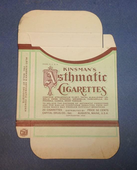Vintage Quack Medicine KINSMANS ASTHMATIC CIGARETTES empty box NEVER ASSEMBLED