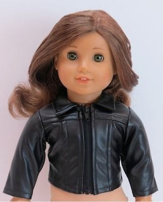 Doll Clothes Black Faux Leather Jacket For 18