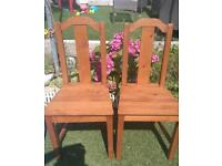 PAIR OF 2 RUSTIC STYLE SOLID WOOD CHAIRS