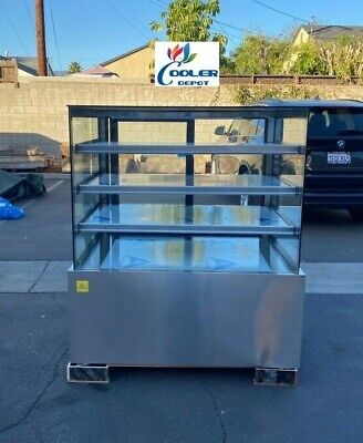 New 48 Dry Display Case Bakery Showcase Donuts Bagels Pastry Glass Led Lighting