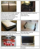 Moving sale--Sofa, Mattress, TV, TV stands, Washer, Dryer...