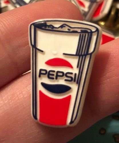 Vintage Pepsi Cola Advertising Plastic Cup Shaped Promo Lapel Pin *NEW*