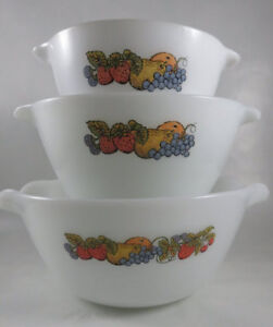 Vintage Fire King Set of 3 Mixing Nesting Bowls Natures Bounty