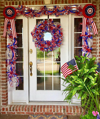 Patriotic 4th of July Wreath Garland Swag Bunting - American Flag Decor - - 4th Of July Bunting Decorations