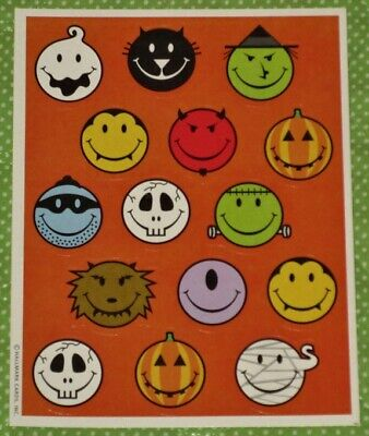 Used, VINTAGE HALLMARK HALLOWEEN SMILEY FACE STICKERS~WITCH~CAT~WEREWOLF~FRANKENSTEIN  for sale  Shipping to India
