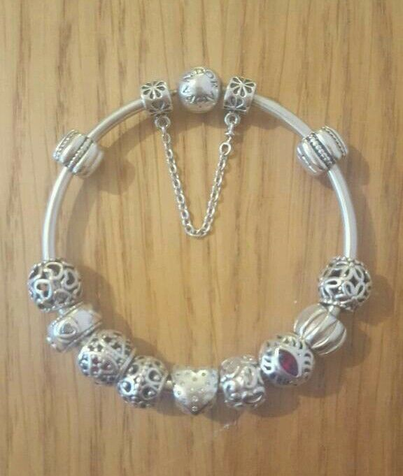 genuine pandora bangle 11 charms safety chain in