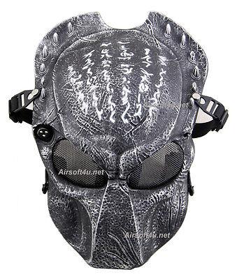 8ebfd4b23 Metal Mesh Protect Black Silver Alien Vs Predator AVP Full Face Airsoft Mask