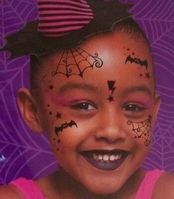 Witch Bats Halloween Costume Face Temporary Tattoos can use for Monster - Temporary Face Tattoos For Halloween