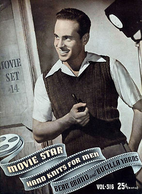 Bear Brand #316 c.1940 Vintage Knitting Pattern Book Movie Star Men's Fashions