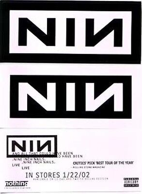 NINE INCH NAILS 2002 all coulda been promotional 2 sticker set New Old Stock
