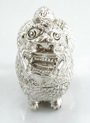 Silber Behälter für Schmuck u. Accessoires etc. Vintage orientalische Figur