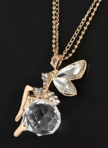 Yanqueens Crystal Fairy Angel Wing Angel Pendant Chain Neckl