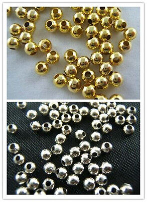 - 800 PCS Wholesale Silver Gold Plated Round Smooth Spacer Loose Beads Jewelry DIY