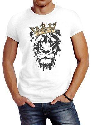 Herren T-Shirt König der Tiere Löwen-Kopf mit Krone Slim Fit (Herren König Krone)