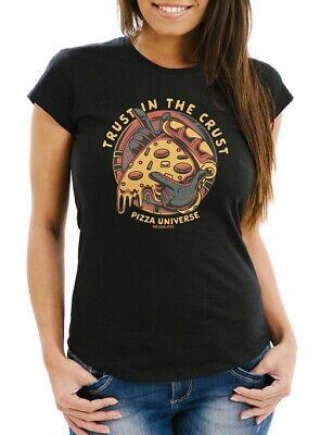 Damen T-Shirt Pizza Motiv Comic Stil Spruch Trust in the crust Fashion