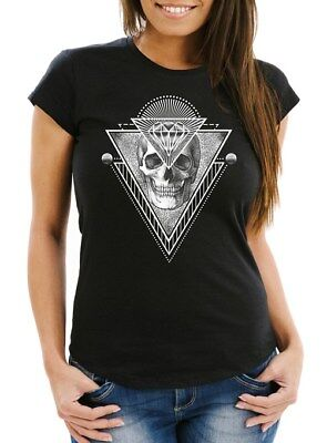 Diamant-damen Shirt (Damen T-Shirt Totenkopf Skull Diamond Diamant Slim Fit Moonworks®)