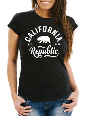 Damen T-Shirt Californien California Republic Slim Fit Neverless®