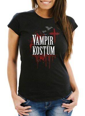 Damen T-Shirt Vampir-Kostüm Faschings-Shirt Halloween Karneval - Kostüme Vampir Shirt