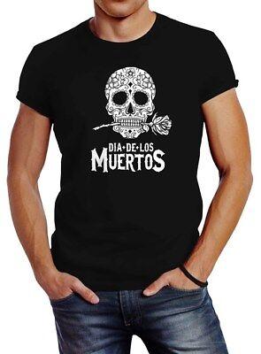 Herren T-Shirt Sugar Skull Dia De Los Muertos Totenkopf mit Blumen Slim Fit