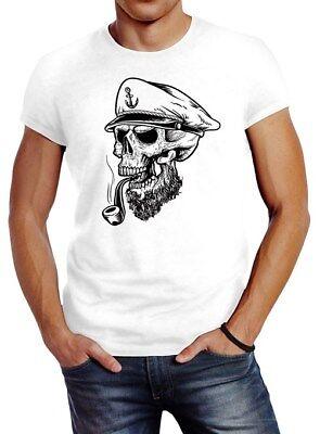 Herren T-Shirt Captain Skull Beard Kapitän Totenkopf Bard Sailor Schädel Slim