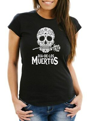 Damen T-Shirt Sugar Skull Dia De Los Muertos Totenkopf mit Blumen Slim Fit