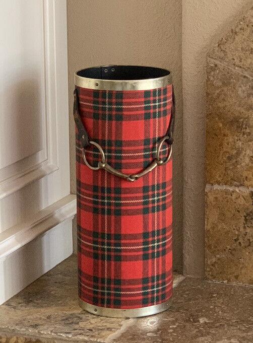 Mid Century Vintage Tartan Wool Brass Horse Bit  Equestrian Umbrella Stand