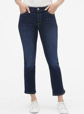 NWT Womens GAP Denim Mid Rise Crop Kick Jeans Slim Fit Stretch Dark Wash $59 *E1