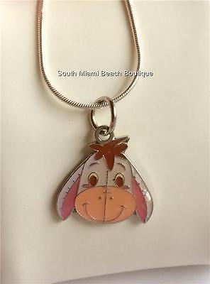 Eeyore Jewelry (Silver Disney Eeyore Necklace Plated Enamel Winnie the Pooh 18