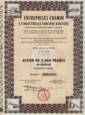 ENTREPRISES CHEMIN Industrielle Fonciée Routiére 1902 Titres Anciens 5000 Francs