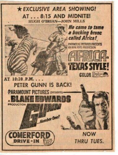 COMERFORD DRIVE-IN DUPONT  PA - AFRICA TEXAS STYLE -SUNDAY INDEPENDENT 1967