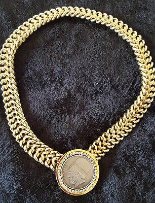 RARE Vintage 80's Les Bernard Greece Coin Rhinestone Statement Choker Necklace