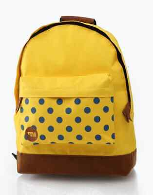BNWT Mi-Pac Yellow Blue Polka Dots Backpack Rucksack School Student Unisex