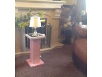 CAN POST Pair Pink Velvet Silver Sparkle Bed Side Tables AND 2 Lamps included