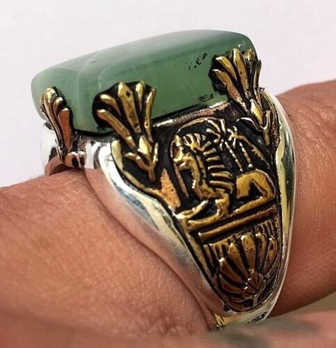 1920s 30s 40s 50s Egyptian Sphinx Art Deco Ring Real Jade Stone Vintage Style