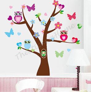 Owl Flower Butterfly Tree Wall Stickers Girls Bedroom Decor Kids Nursery Decals