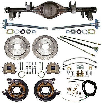 CURRIE 65-70 IMPALA REAR END & DRILLED DISC BRAKES,LINES,E-BRAKE CABLES,AXLES,++