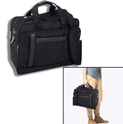 Black Briefcase Expandable 16 Inch Nylon Computer Bag Laptop Case Should Strap