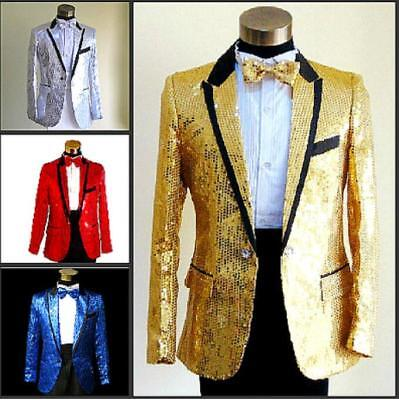 Mens Suit&Pants Bling Tuxedo  Glitter Sequins Costume Jacket Coat Show Prom Coat