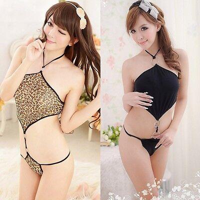 Leopard Teddies (Hot Sexy Cute Lingerie Leopard Pattern Teddies Babydoll Dress Nightwear Costume)