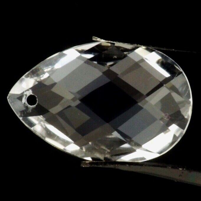 DIAMOND QUARTZ 20 x 14 MM PEAR BRIOLETTE CUT CENTER DRILLED ALL NATURAL F-1599