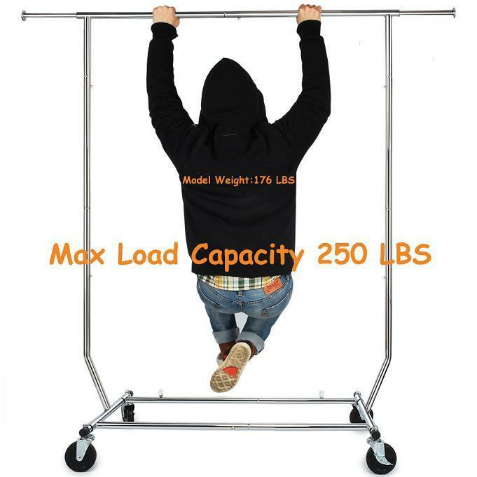 250lbs Heavy Duty Commercial Clothing Garment Rack Rolling Collapsible Chrome US