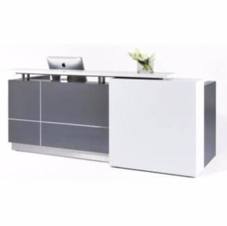40%OFF Brand New Reception Counter Reception Desk Metallic Grey O
