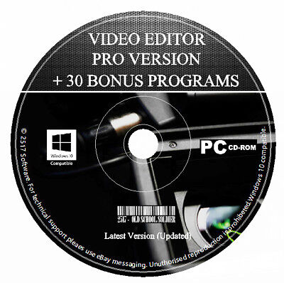 Professional Video Editor Movie Maker Trim, Cut, Split, + Bonus Soft PC & MAC CD