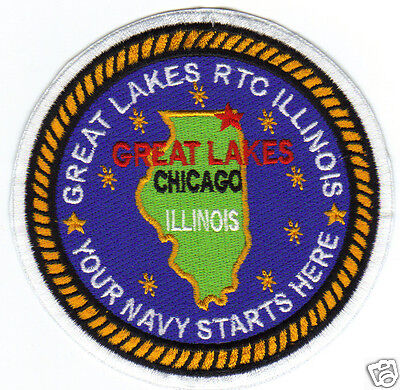US NAVY BASE PATCH, GREAT LAKES RTC, ILLINOIS, YOUR NAVY STARTS HERE         Y  -