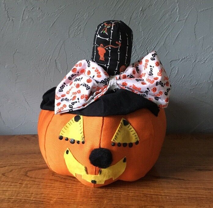 "Vintage Halloween Pumpkin Handmade Jack O Lantern Stuffed Fabric Decoration 12"""