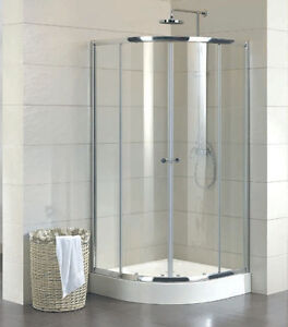 New Curved Shower Screen plus Base, 900x900x1950mm with Sliding Door