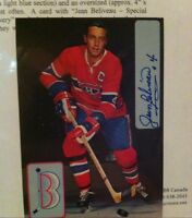 Hockey(jean Beliveau signed post card with C.A)